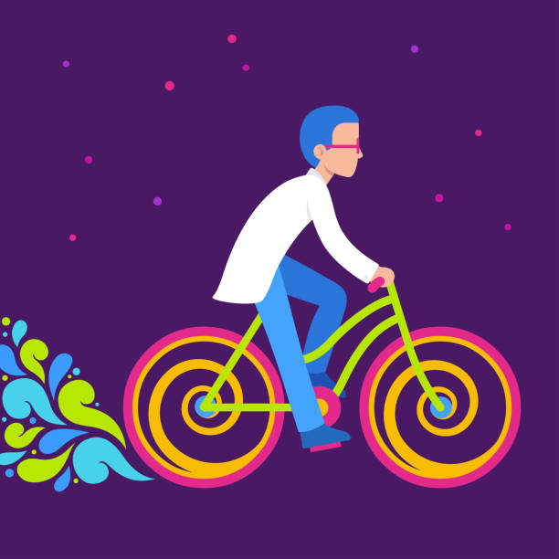 Psychedelic bicycle ride Psychedelic bike ride, Bicycle Day illustration. Scientist in lab coat riding bright neon colored bicycle. acid stock illustrations