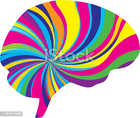 Vector illustration of a multi-colored psychedelic brain.