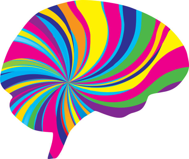 Psychedelic Brain Icon Vector illustration of a multi-colored psychedelic brain. acid stock illustrations