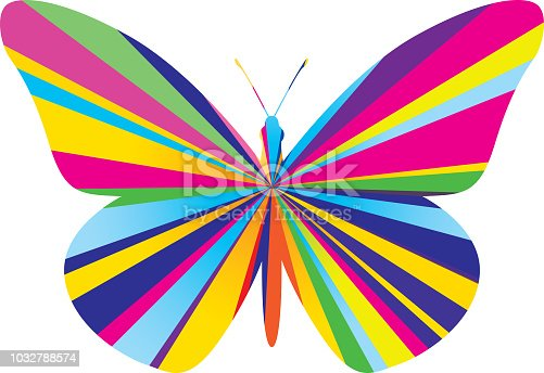 Vector illustration of a colorful psychedelic burst butterfly.