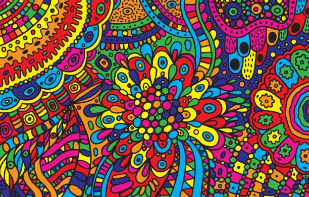 psychedelischen cartoon hand gezeichneten hintergrund. bunte fantastische doodle ornament. vektor-illustration - landscape crazy stock-grafiken, -clipart, -cartoons und -symbole