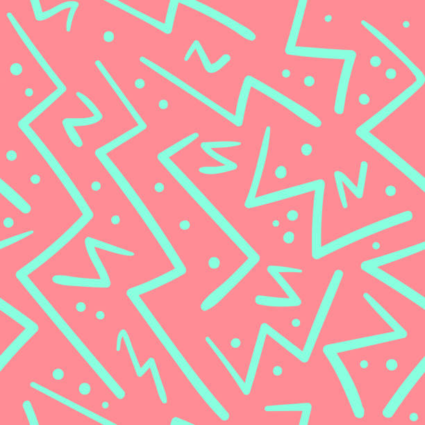 Psychedelic chaotic zig zag with dots pattern Psychedelic chaotic pink and green zig zag with dots seamless pattern. Abstract fashion trendy vector texture with hand drawn zigzag lines for textile, wrapping paper, surface, background zigzag stock illustrations
