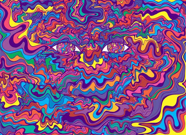 illustrazioni stock, clip art, cartoni animati e icone di tendenza di psychedelic colorful eyes and waves. fantastic art with decorati - arte, cultura e spettacolo
