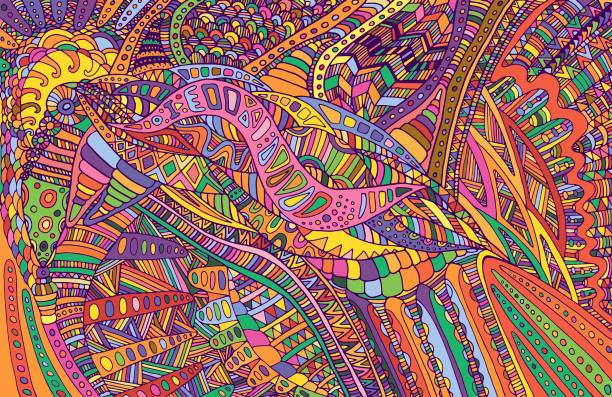 Psychedelic colorful surreal doodle pattern. Rainbow colors abst Psychedelic colorful surreal doodle pattern. Rainbow colors abstract pattern, maze of ornaments. Vector hand drawn illustration. psychedelic stock illustrations