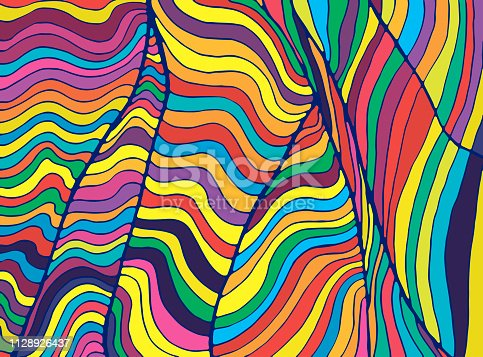 istock Psychedelic colorful  waves. Fantastic art with decorative texture. Surreal doodle pattern. Rainbow colors abstract pattern, maze wave of ornaments. Vector hand drawn illustration. 1128926437