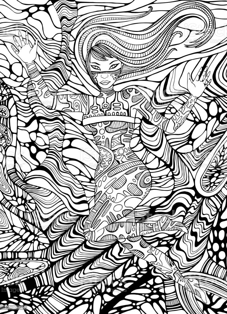Psychedelic Cyberpunk Girl Adult Coloring Page Line Art ...