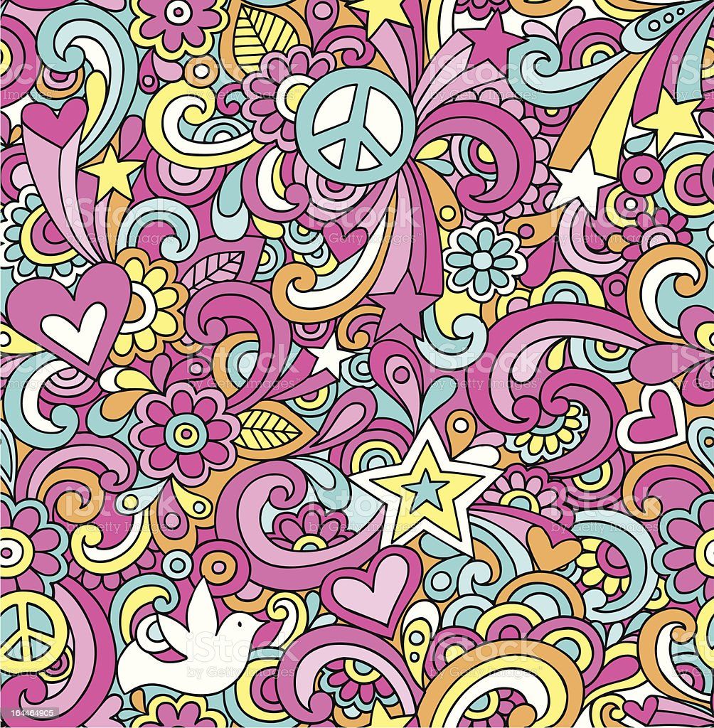 Psychedelic Doodles Seamless Repeat Pattern vector art illustration