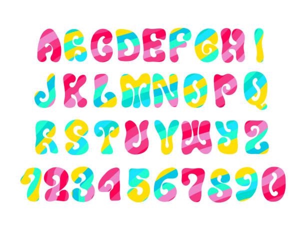 stockillustraties, clipart, cartoons en iconen met psychedelisch lettertype met kleurrijke patroon. hippie vintage alfabet geïsoleerd op wit. - hippie
