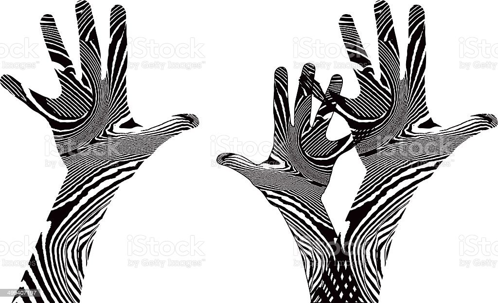 Psychedelic Hands Reaching Up vector art illustration