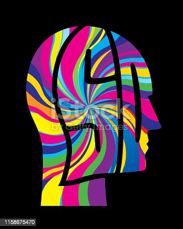 Vector illustration of a psychedelic colored LSD letters head.
