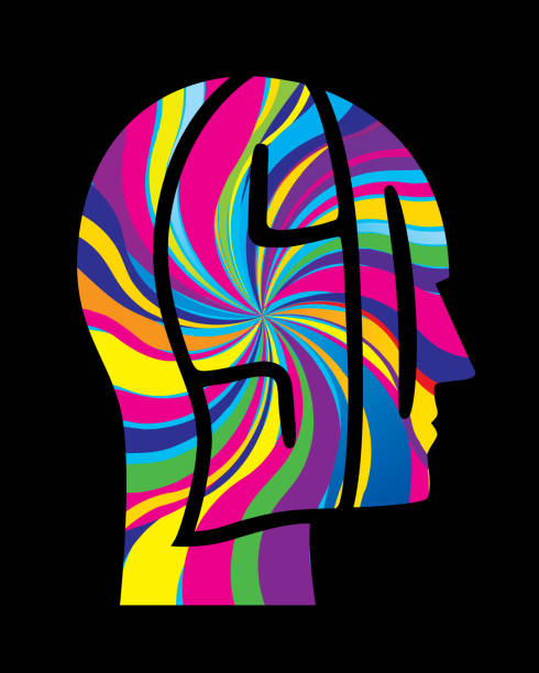 Psychedelic Head Icon Vector illustration of a psychedelic colored LSD letters head. acid stock illustrations