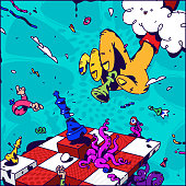 Psychedelic illustration about Chess. Vector. Hand with pawn checkmate. Surrealistic picture on the topic of management and business. Game of chess. Drawn elements. Cartoon flat style.