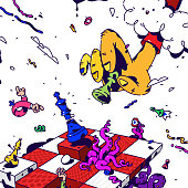Psychedelic illustration about Chess. Vector. Surrealistic picture on the topic of management and business. Game of chess. Drawn elements. Cartoon flat style. Hand with pawn checkmate.