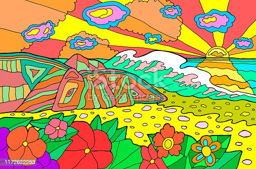 Psychedelic illustration with seaside landscape. Ocean sunset. Colorful catoon retro art. Hippie 60s artwork. Vector illustration.