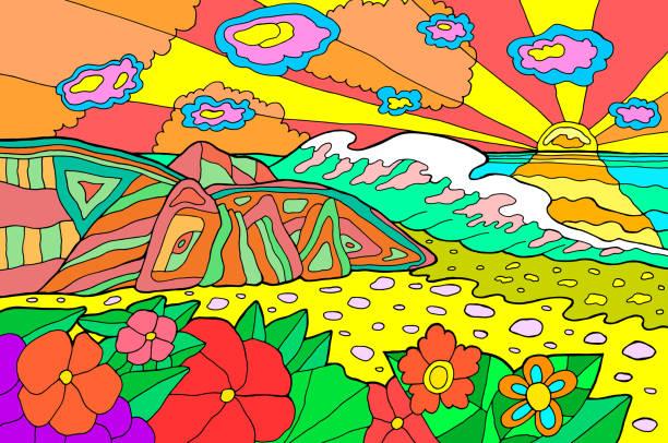 stockillustraties, clipart, cartoons en iconen met psychedelische illustratie met seaside landschap. oceaan zonsondergang. kleurrijke catoon retro art. hippie 60s artwork. vector illustratie - hippie