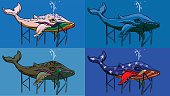 Four images of a whale with different colors. Such as the colors of the rainbow, the American flag or just ,blue. File made in layer that allows you easely change any color. Whales have fountains on the top of the head.