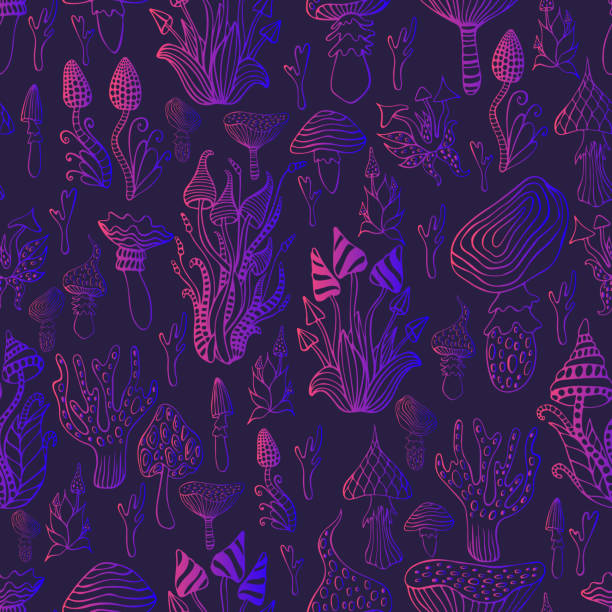 ilustrações de stock, clip art, desenhos animados e ícones de psychedelic mushroom seamless pattern.bright pink violete gradient outline, dark purpule background.  hallucinogenic fantasy mushrooms, each mushroom has its own pattern.vector hand drawn illustration - cogumelos