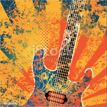 Guitar with psychedelic colors and grunge texture.