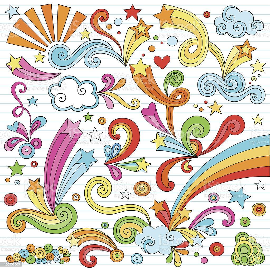Psychedelic Notebook Doodles Vector Set vector art illustration