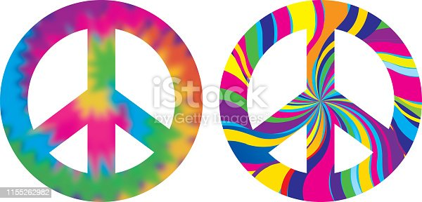 Vector illustration of two psychedelic peace signs.