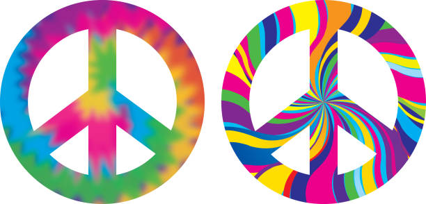 Psychedelic Peace Signs Vector illustration of two psychedelic peace signs. symbols of peace stock illustrations