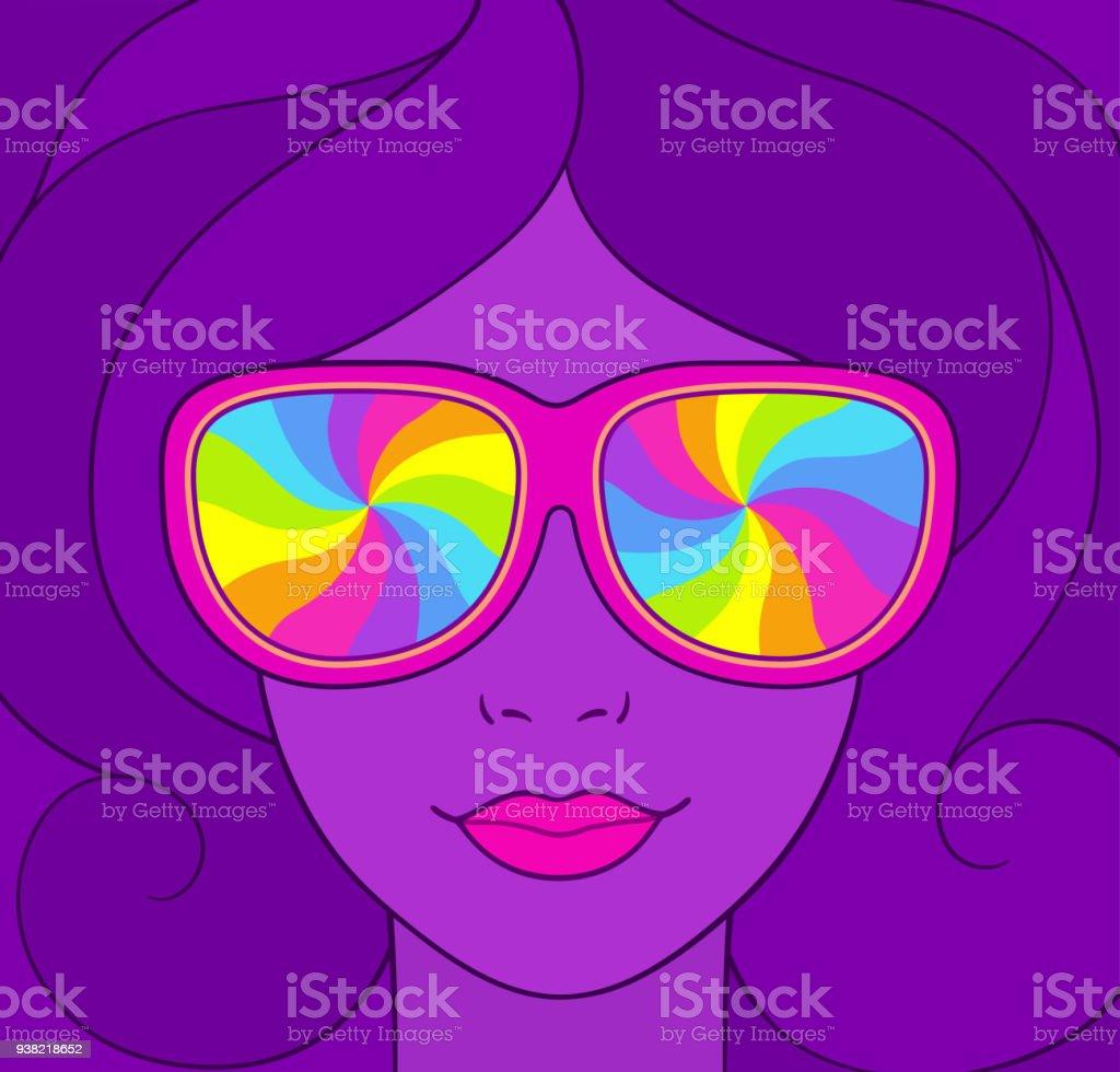 Psychedelic portrait llustration vector art illustration