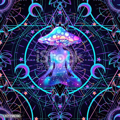 istock Psychedelic seamless pattern with magic mushrooms 1301796090