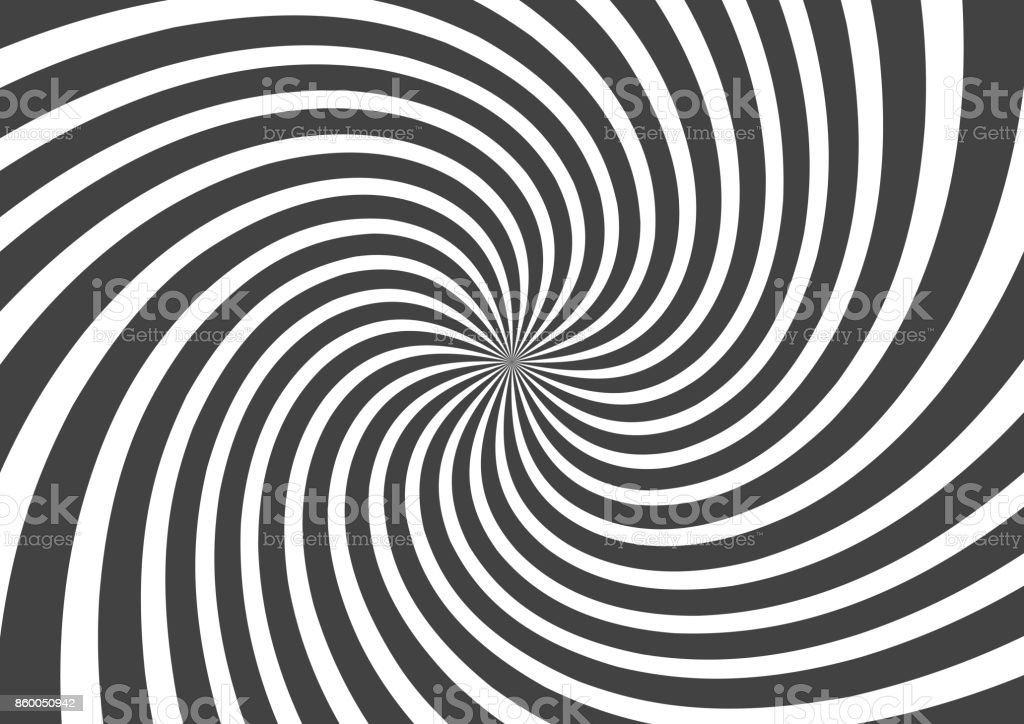 Psychedelic spiral with radial gray rays. Swirl twisted retro background. Comic effect vector illustration vector art illustration