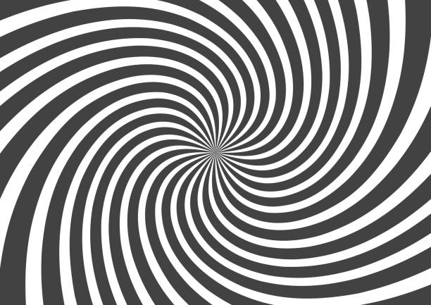 ilustrações de stock, clip art, desenhos animados e ícones de psychedelic spiral with radial gray rays. swirl twisted retro background. comic effect vector illustration - trippy background