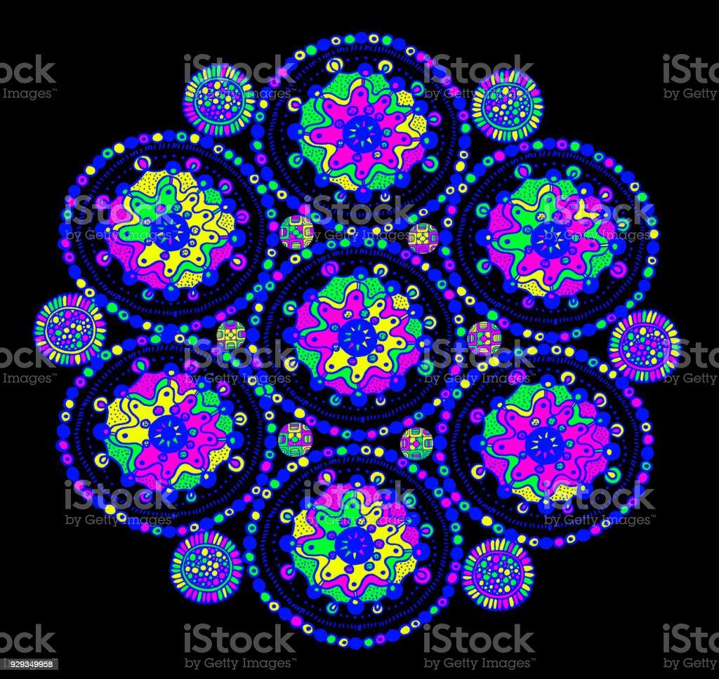 Psychedelische Surreale Mandala Zentangle Doodle Kunst Mit ...