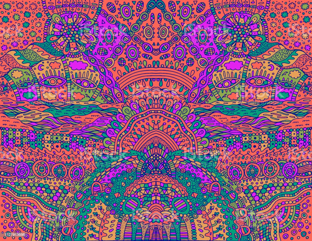 Psychedelic Tribal Acid Color Symmetrical Background Colorful