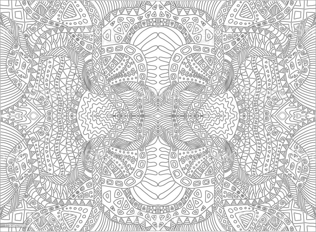 Psychedelic Tribal Surreal Doodle Coloring Page Hippie Abstract ...