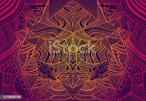 istock Psychedelic  trippy colorful fractal mandala, gradient bright crimson, orange,yellow colors outline,on dark background. Decorative abstract element pattern.Vector illustration. Shamanic fantasy background 1270949753