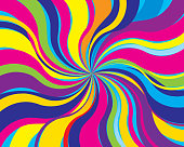 Vector illustration of a colorful twisting psychedelic background.