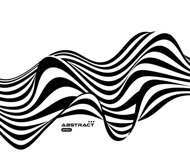 Psychedelic vector background with black waves distortion, black and white stripe background vector art illustration