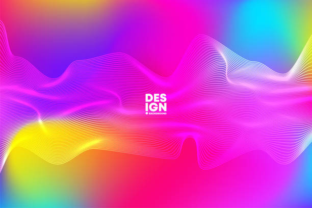 Psychedelic vector background with colored waves distortion, colorful striped background, moving activity, geometric shapes line art vector art illustration