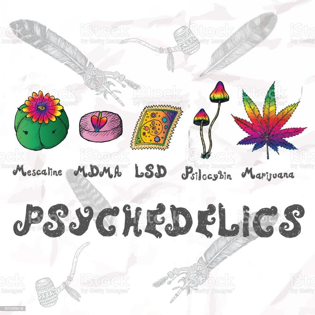 Psychedelics set. Hand drawn elements. vector art illustration