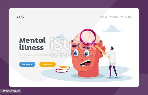 Psychiatric Clinic Landing Page Template. Tiny Doctor Character with Huge Magnifying Glass Learning Diseased Human Brain, Patient with Mental Problem Medical Support. Cartoon Vector Illustration