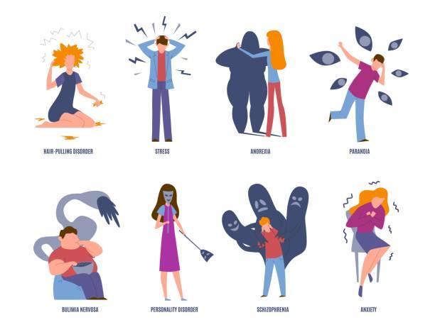 stockillustraties, clipart, cartoons en iconen met psychiatrische aandoening. psychische stoornissen, paranoia en paniek, boulimia en stress. angst en anorexia psychische ziekten vector set - paranoïde