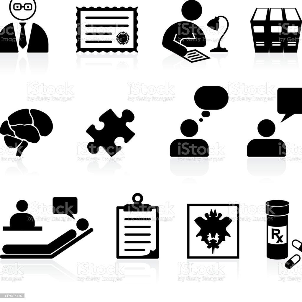 psychiatry psychology black and white royalty free vector icon set vector art illustration