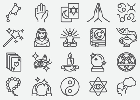 Psychic Fortune Teller Line Icons