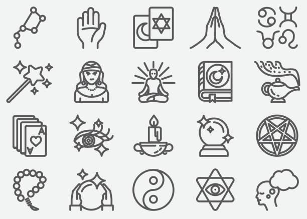 ilustraciones, imágenes clip art, dibujos animados e iconos de stock de iconos de línea psíquica fortuna teller - yin yang symbol