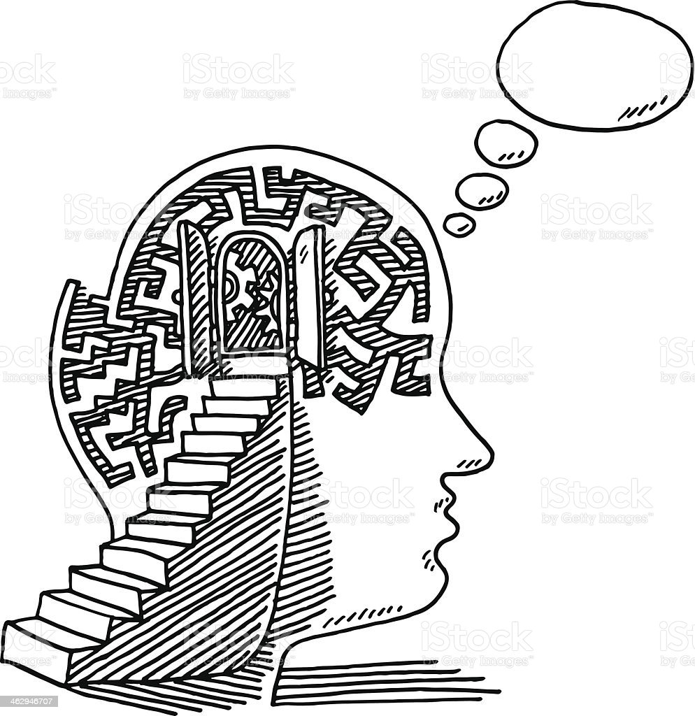 Psycholgy Head Steps Thinking Drawing vector art illustration