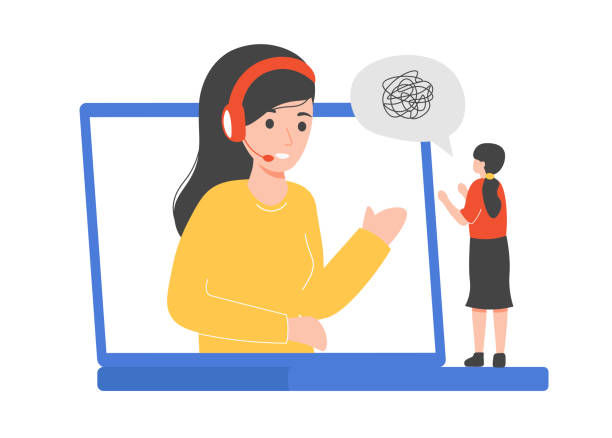 Psychological counseling, laptop operator and woman vector art illustration