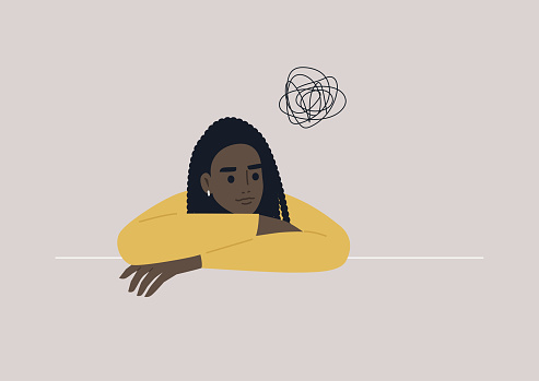 A psychological portrait of a young confused female Black character, an anxiety and depression concept, psychotherapy