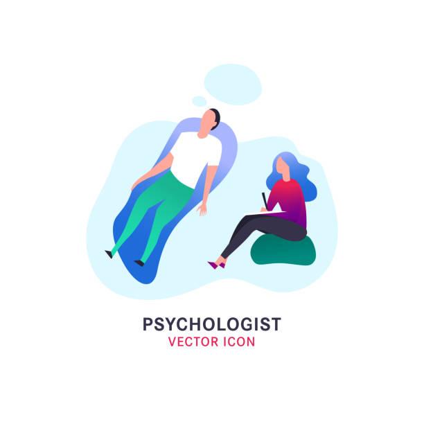 Psychologist and psychotherapist icon vector art illustration
