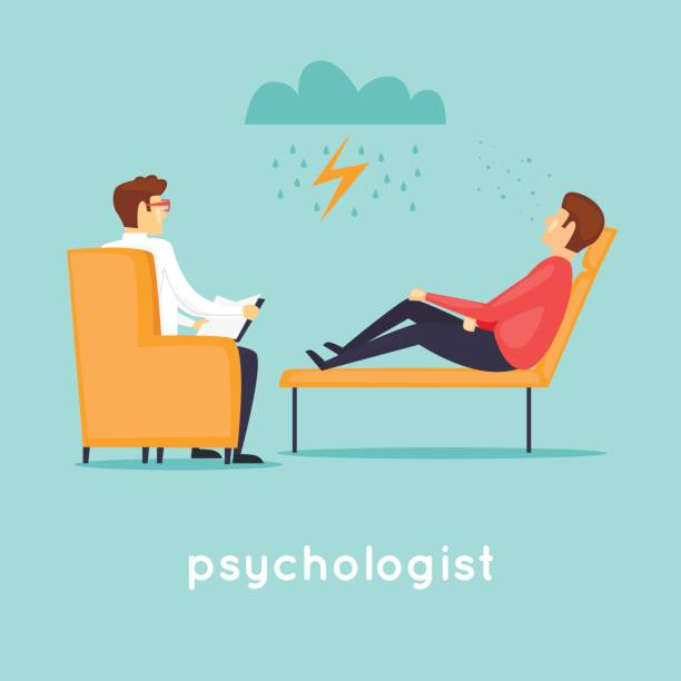 psychologist at the reception. flat vector illustration in cartoon style. - psychiatrist stock illustrations