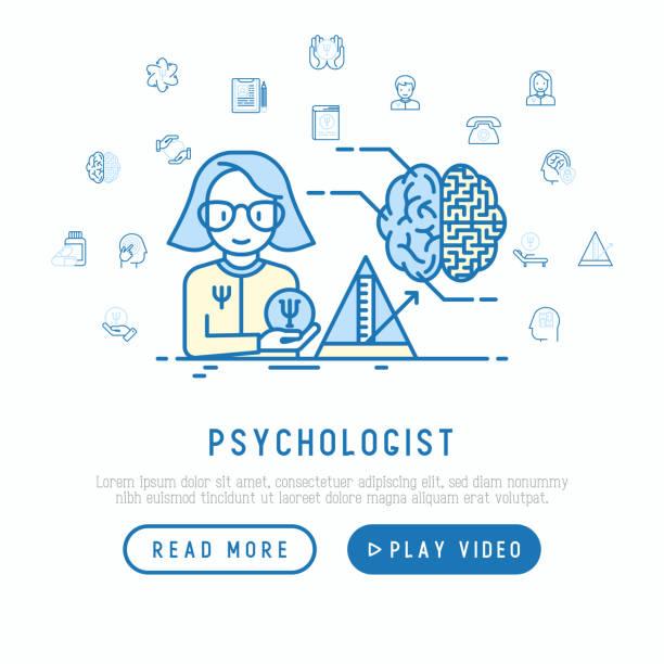 ilustrações, clipart, desenhos animados e ícones de psicólogo no conceito de trabalho com ícones de linha fina: psiquiatra, história de doença, poltrona, pêndulo, antidepressivos, apoio psicológico. ilustração vetorial, modelo de página da web. - profissional de saúde mental
