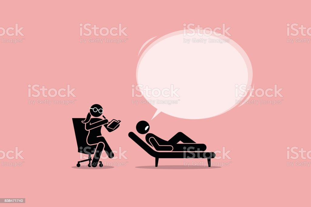 Psychologist Consulting and Listening to a Patient Mental Emotional Problem. vector art illustration