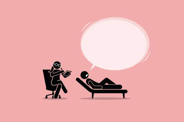 ilustraciones, imágenes clip art, dibujos animados e iconos de stock de psicólogo consultoría y escuchar a un paciente mental problema emocional. - profesional de salud mental
